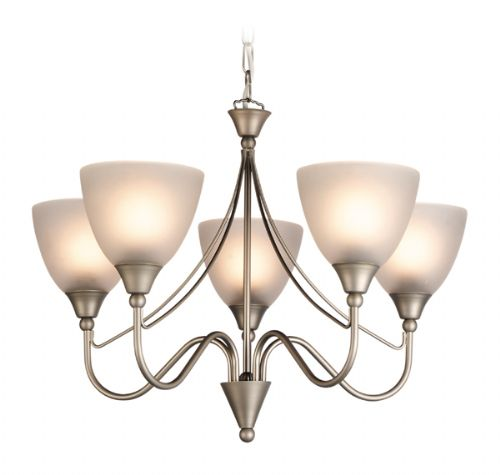 Firstlight 8040SS Satin Steel with Opal Glass Santana 5 Light Fitting